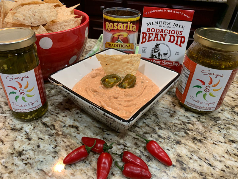Best Bodacious Bean Dip with Sweet Jalapenos & Miners Mix