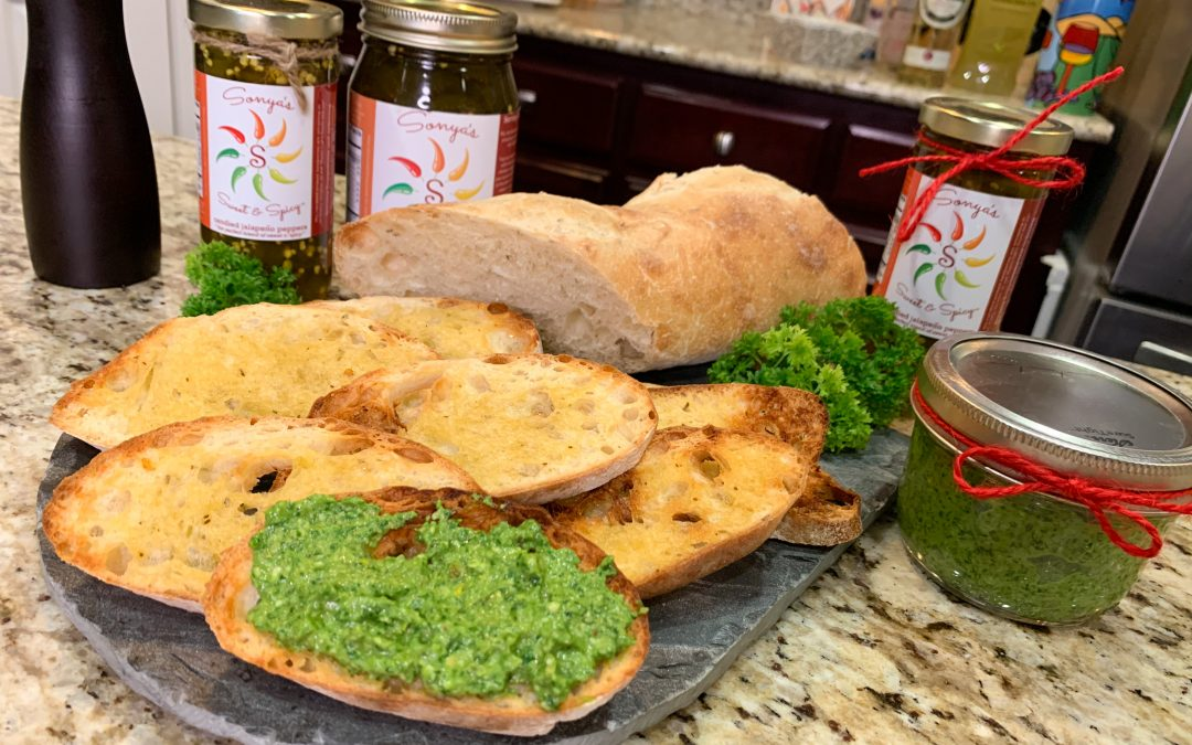 Sonya Sweet Spicy - Spicy Spinach Basil Pesto with Crostini